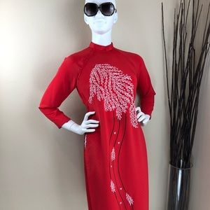 Vintage Red Abstract Leaves Cheongsam Dress
